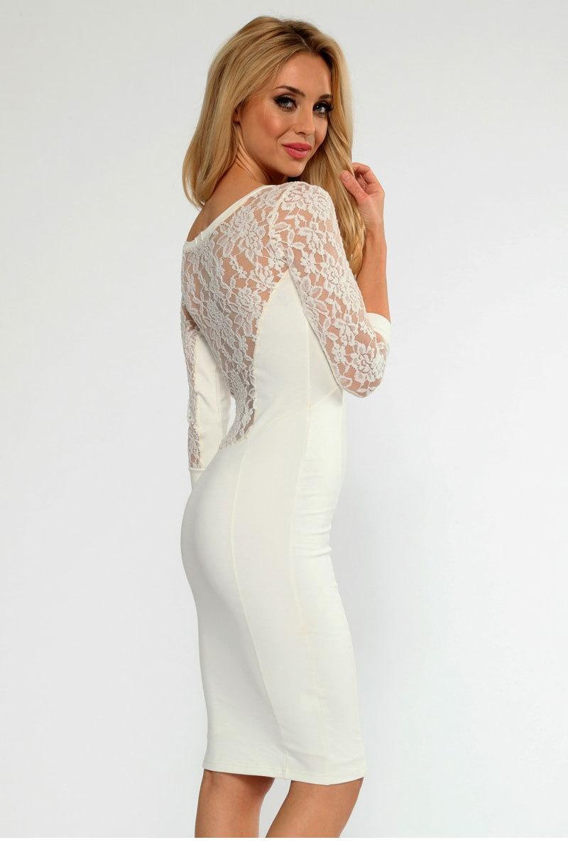 WarmGoods vestidos femininos casual dress sexy party dresses women best  Cream Lace Insert Midi Dress LC21714 c172128d5