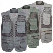 Bobing Big Men's Leisure Breathable Mesh Net Quick Dry Outdoor Fishing Sleeveless Jacket Vest Outdoor Sport Fishing Clothing