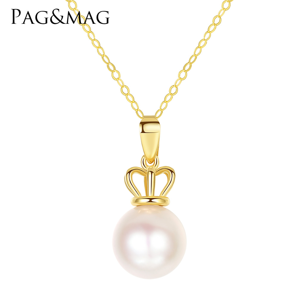 PAG&MAG High Quality 8-9mm Round Akoya Sea Pearl Pendant Necklace for Women 18K Yellow Gold Charm Chain Necklace Wedding JewelryPAG&MAG High Quality 8-9mm Round Akoya Sea Pearl Pendant Necklace for Women 18K Yellow Gold Charm Chain Necklace Wedding Jewelry