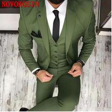 Новинка 2019 дизайнерский Зеленый мужской костюм из трех предметов