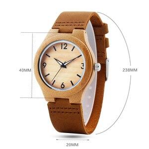 Image 3 - Bamboo Wood Watch Women watches ladies clock leather watchband Wristwatch Luxury Brand relogio femininos 2020 Quartz Watch