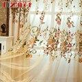 Высококачественные затемняющие шторы из синели в американском стиле для гостиной  тюлевые шторы с вышитыми цветами и вуалью для спальни AG117...