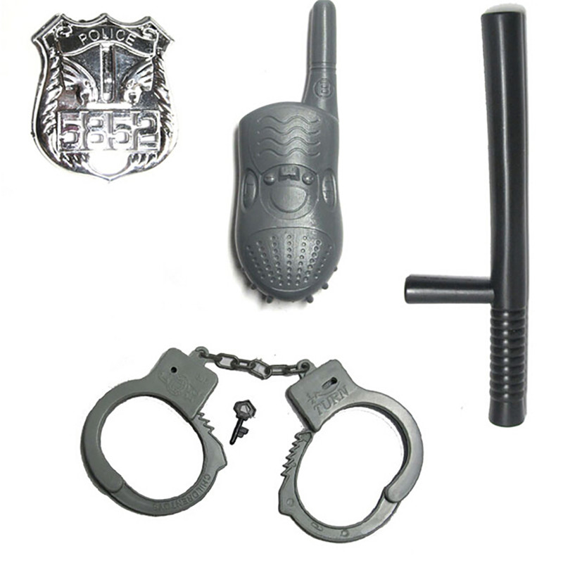 Plastic Police Play Set Simulation Stick Interphone Badge Handcuff Hat Toy for Children Role-playing Cosplay Game 5 Piecs A Set