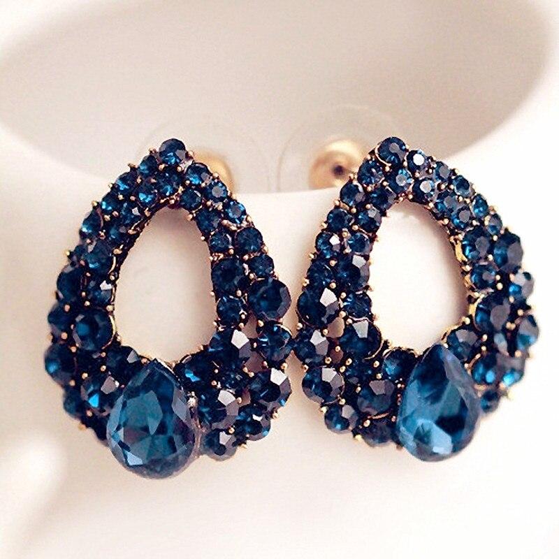 2017 Fashion Brincos Perlas New Girls Earing Bijoux Blue Zircon Stud Earrings For Women Wedding Jewelry Earings One Direction