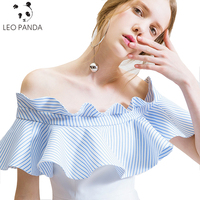 2017 New Style Summer Women Blue White Stitching Dress Off Shoulder Strapless Sexy Dress Slash Neck