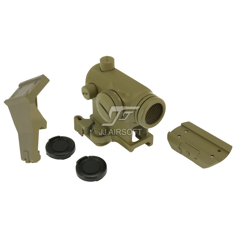 ФОТО JJ Airsoft Micro 1x24 Red Dot with Killflash / Kill Flash , 45 Degree Offset Mount, QD Riser Mount and Low Mount (Tan)