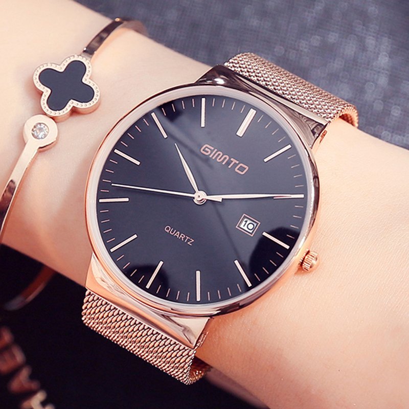 Slim Strap Watch Top Brand Women Watches Steel Gold Lovers Ladies Dress Quartz Luxury Business Wristwatch Relogio Feminino onlyou luxury brand fashion watch women men business quartz watch stainless steel lovers wristwatches ladies dress watch 6903