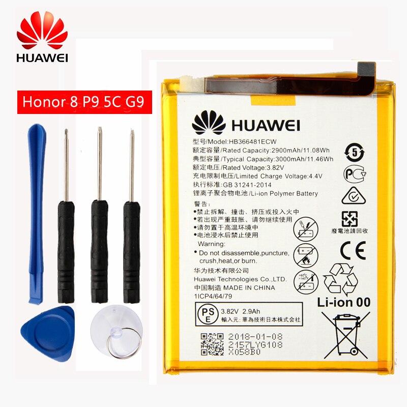 Huawei Original de HB366481ECW de la batería del teléfono para Huawei P9 Ascend P9 Lite G9 honor 8 honor 5C G9 EVA-L09 honor 8 lite 2900 mah