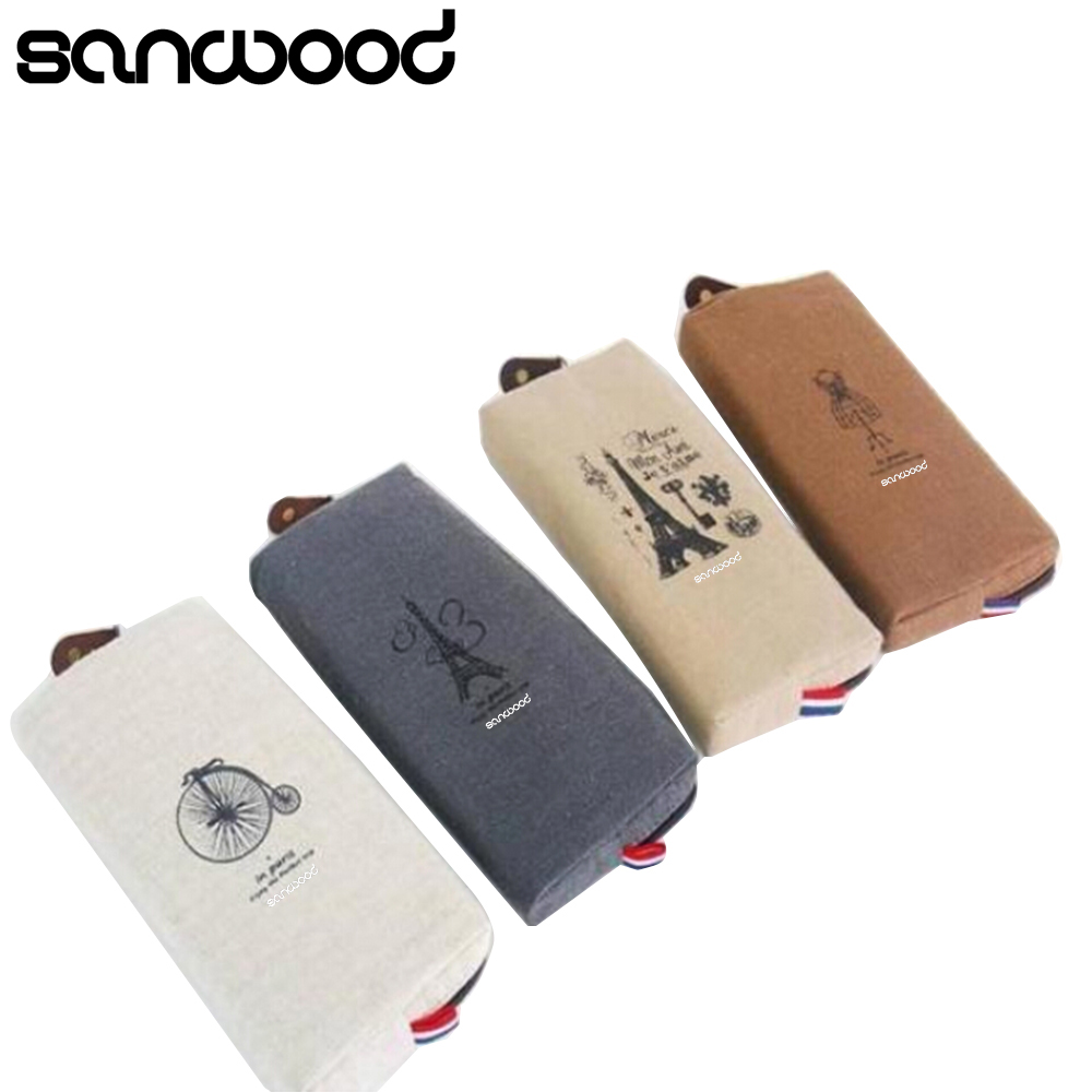 2015 New Retro Canvas Pencil Pen Case Cosmetic Makeup Coin Pouch Zipper Bag Purse 6O2M big capacity high quality canvas shark double layers pen pencil holder makeup case bag for school student with combination coded lock