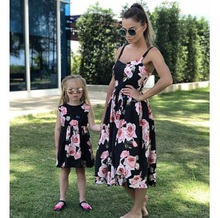 rose tank mother daughter dress mommy and me clothes family look mom mum and daughter matching clothes outfits dresses clothing family look clothes brand european black rose pleated a shape sleeveless skirts women midi sundress mother and daughter dresses