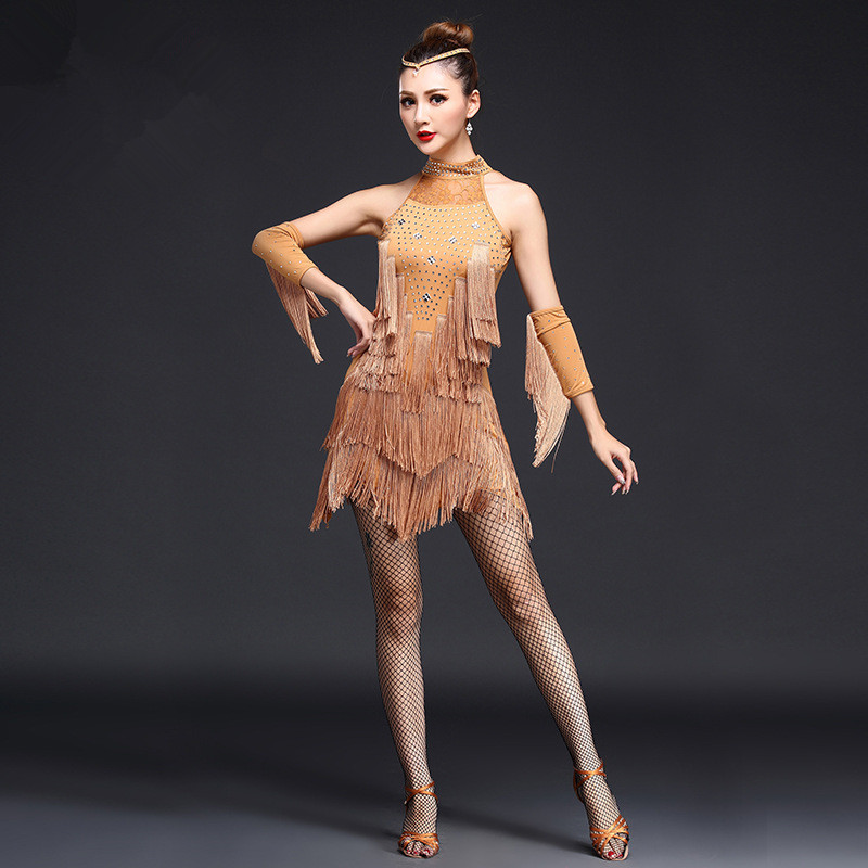 2020 Latin Dance Dress Sexy Women 5 Color Fringe Tassel Salsa Ballroom Tango Samba Dance Skirt With Gloves Latin Dress For Dance
