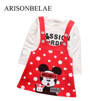 ARISONBELAE 여자 스트랩 드레스 코튼 만화 캔디 셔츠 2 개 어린이 브랜드 신생아