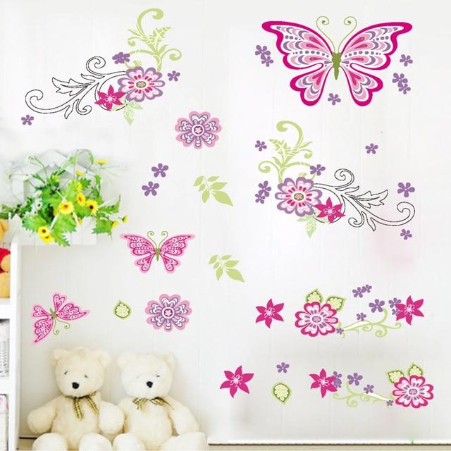aliexpress.com : acquista volo di farfalla fiore adesivi murali ... - Stickers Murali Camera Da Letto