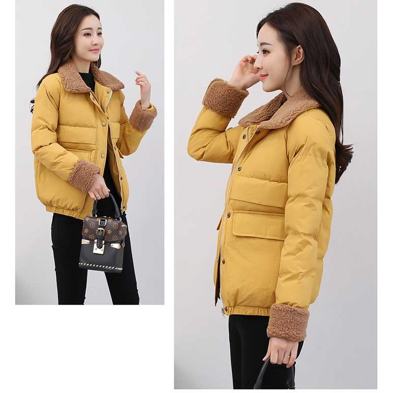 Z008 Slim Little Jacket New Korean Damen Lamm Wollkragen Baumwolle Kurzmantel Solide Schwarzorangepinkweiamelc Daunenoberbekleidung Mantel Parkas Winter zjGLqpVSUM