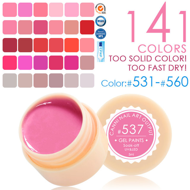 141 Colors Nail Art CANNI Hot Sale Soak Off Paint Gel  UV LED Ink UV Color Gel For Nail Art Designs