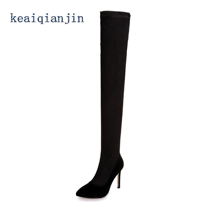 ФОТО Nubuck Leather Sheepskin Knee Boots 2017 Winter Black Spike Heels Short Plush High Boots Genuine Leather Warm Over-the-Knee