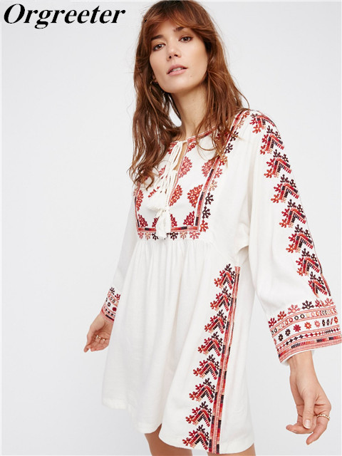 d4d602a6973f3 Orgreeter Bohemian People Embroidery Mini Short Dress Hippie Chic Luxury  Brand Runway Women Dresses Vintage Mexican dress