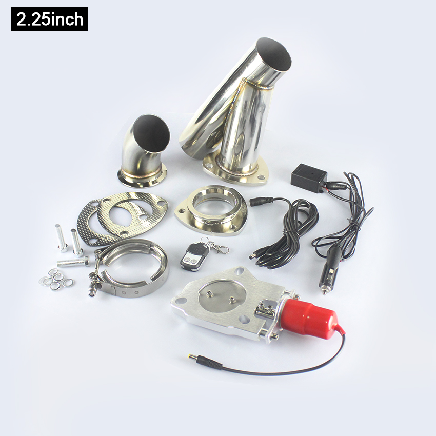 2.25inch Automobiles 304 Stainless steel Electric Cutout Exhaust Valve with Remote Control Exhaust Cut out Dump Switch kit pivot 2 75 stainless steel motorized electric exhaust cutoff bypass valve cutout remote pt cutnew275