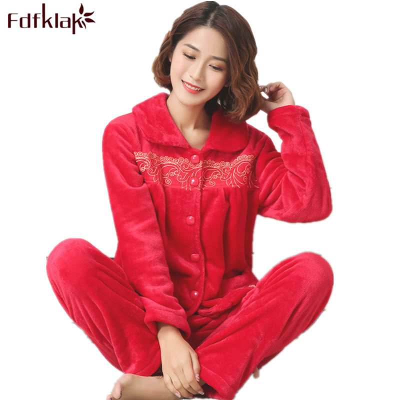 Fdfklak Pijama Femmes 2017 Fashion Home Clothes Womens Winter Pyjamas Flannel Family Pajama Set Pijama Mujer Sleepwear Sets Q523