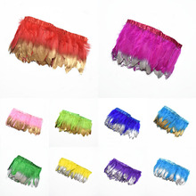 2Meter dipped Gold silver Goose Feathers Trims Fringe for sewing clothes plumas DIY Dyed feather Carnival dress Party decoration