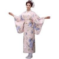 Top Novedad de La Manera de Las Mujeres Vestido de Fiesta Estilo Japonés Yukata Kimono Con Obi Vendimia Rendimiento Traje de la Danza Un Tamaño