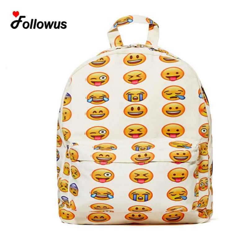 2016 Pretty Style Women Canvas Backpacks Smiley Emoji Face Printing School Bag Teenagers Boys Girls Shoulder