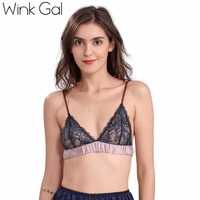 Wink Gal 2017 Sexy Women Bralette Adjustable Mesh Patchwork Bra Transparent Floral Brasserie Female Intimate Lingerie