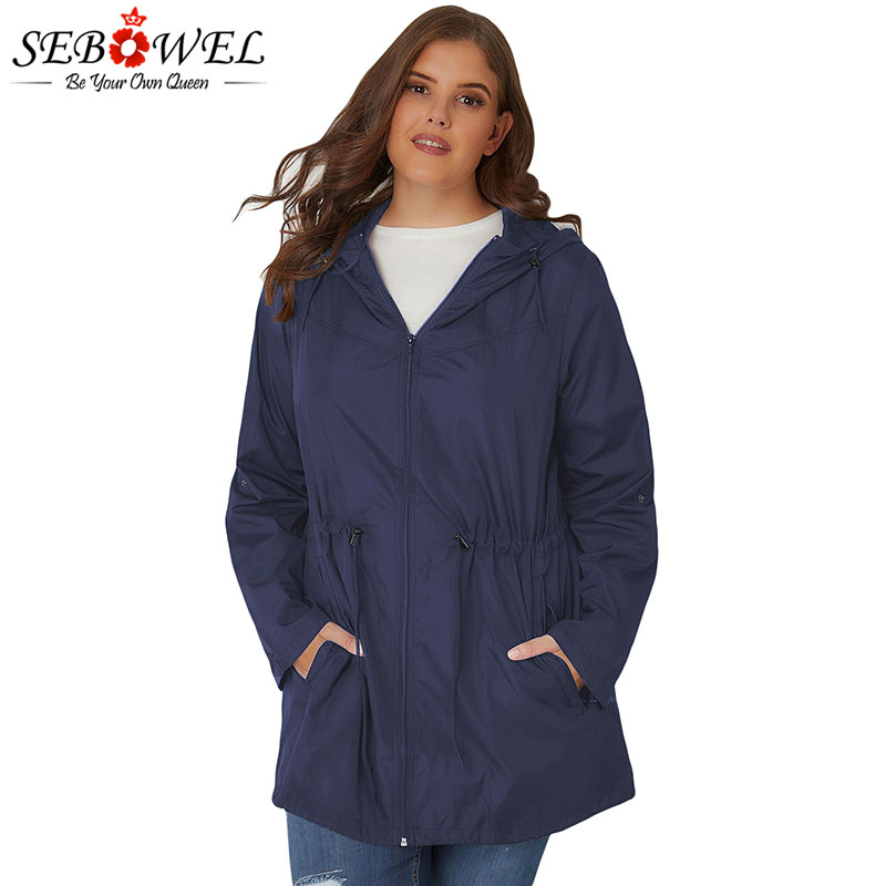 SEBOWEL Plus Size Trench Hooded Outwear Woman Spring Autumn 2019 High Quality Lightweight Ladies Long 4XL 5XL Windbreaker Coats