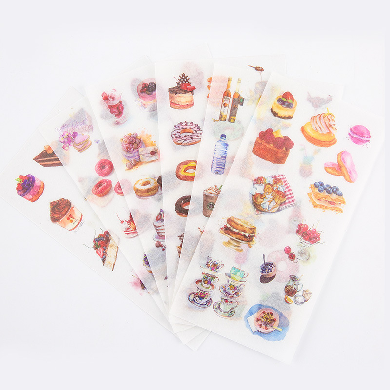 6PCS New Dessert House Children Stationery Stickers For DIY Albums Scrapbooking Diary Decoration Cartoon Depicting