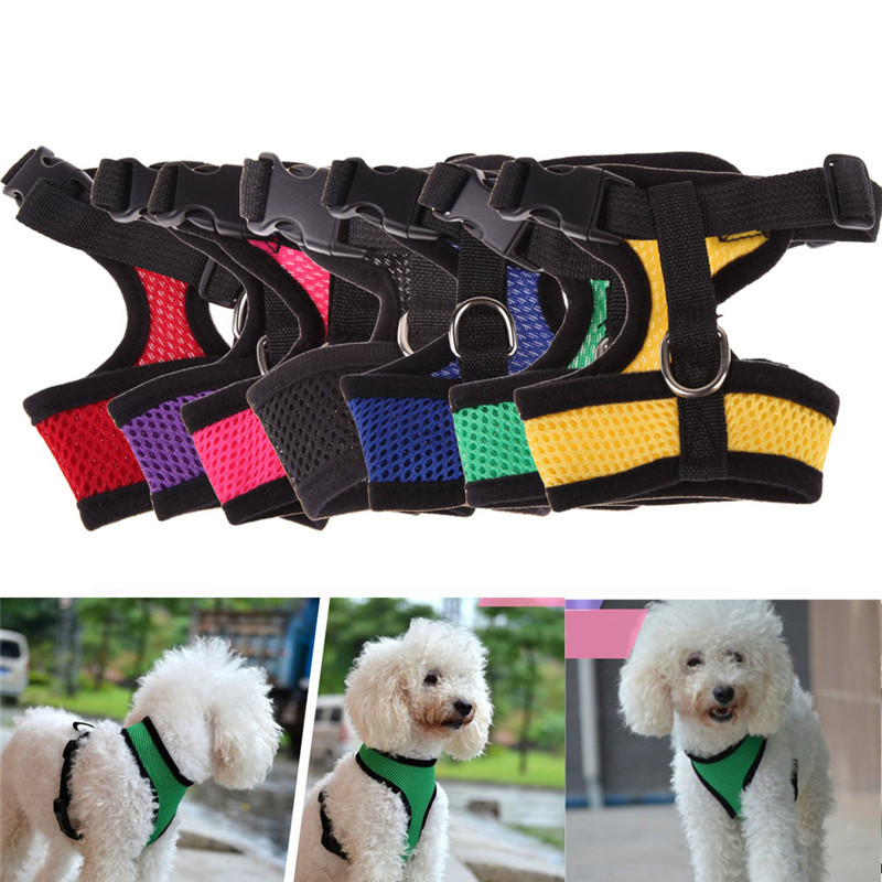 Adjustable Comfort Soft Breathable Dog Harness Pet Vest Rope Dog Chest Strap Leash Set Collar Leads Harness Size XS/S/M/L/XL