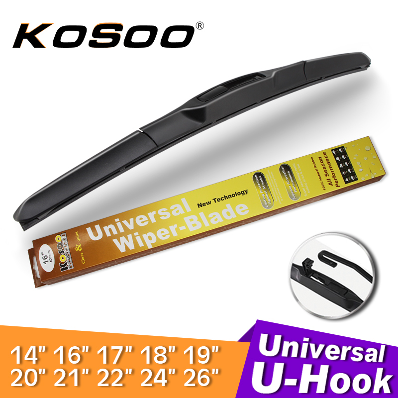 KOSOO Wiper Blade U hook Universal Car Natural Rubber Auto Windshield Wipers 14161718192021222426 Hybrid Accessories