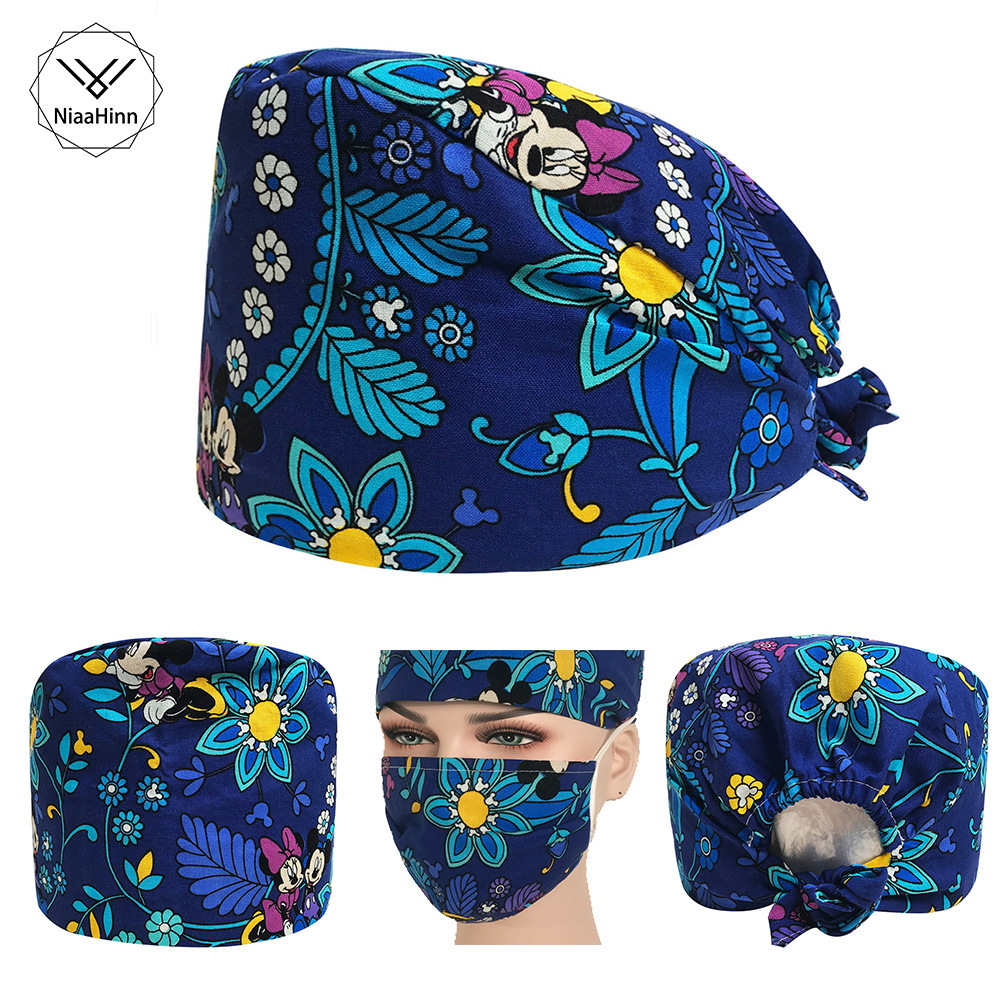 High Quality Printing Medical Surgical Scrub Caps Anesthetist Hospital Doctor Nurse Dentist Beauty Salon Surgeon's Surgery Hat