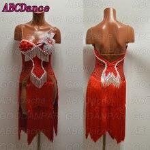 latin dance dress women Sexy Red fringed dress for latin dancing,tango dress,custom-made handmade