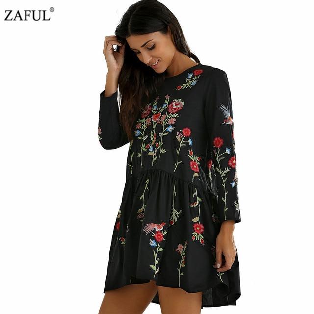 a149e674429 ZAFUL Fashion Floral Embroidered Dress Women Elegant Round Neck Long Sleeve  Vintage Black Dress Vestidos Clothing Dress Female
