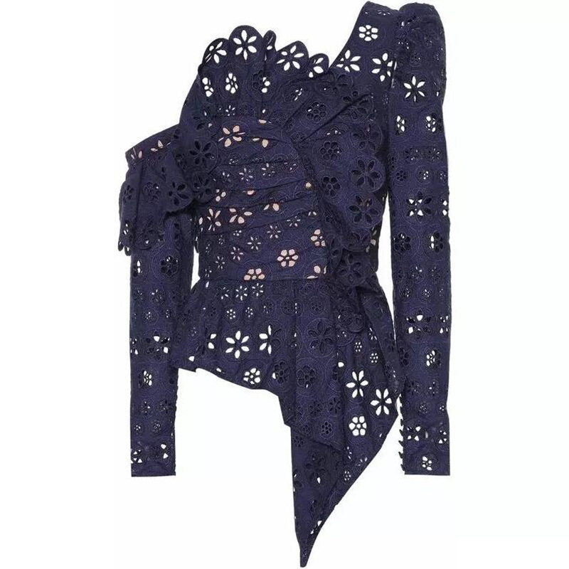 Vadim Limited Volledige Koreaanse 2019 Lente Hot vrouwen Lace Shirt Retro Stiksels Holle V hals Dames Slanke Vrouwen Blouse Womens tops - 3