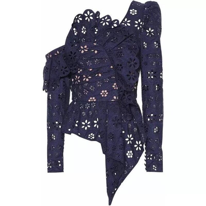 Haute qualité dentelle Blouse 2019 printemps été Sexy fête chemise femmes à volants col Vintage bouton Flare manches dentelle chemise Blusas - 3