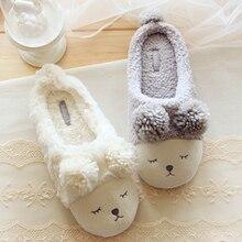 Pantuflas Pantofole Donna Animal Men Shoes Mujer Slippers Women Home Winter Cute Short Plush Squinting Sheep Chinelo Masculino