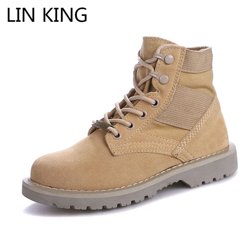 LIN KING New Women Genuine Leather Ankle Boots Retro High Top Boots Ladies Outdoor Military Army Combat Boots Work Botas