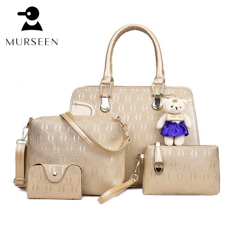 Golden Leather Women Bag Luxury Brand Handbags Shoulder Patchwork Crossbody Messenger Women's Bag 4 Pieces Female Bolsa Feminina
