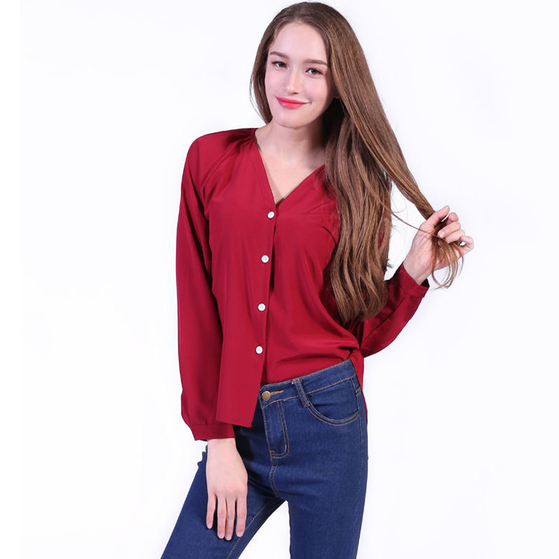 Plus Size 5XL Spring Summer Women Tops Long Sleeve Casual Chiffon Blouse Female V-neck W ...