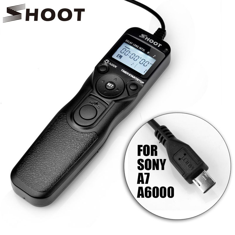 SHOOT RM-VPR1 Selfie LCD Timer Remote Control Shutter Release Cable For Sony Alpha A7 A7R A5000 A6000 A58 A7R II A7II NEX-3N
