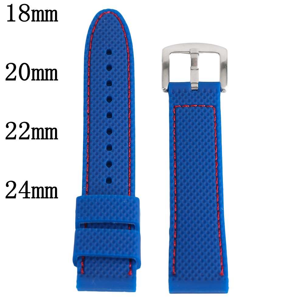Silicone Sport Watch Band 18 20 22 24mm Blue Red Stitch Waterproof Watch Strap Silver Steel Buckle Relojes Hombre 2017 Watchband eache silicone watch band strap replacement watch band can fit for swatch 17mm 19mm men women