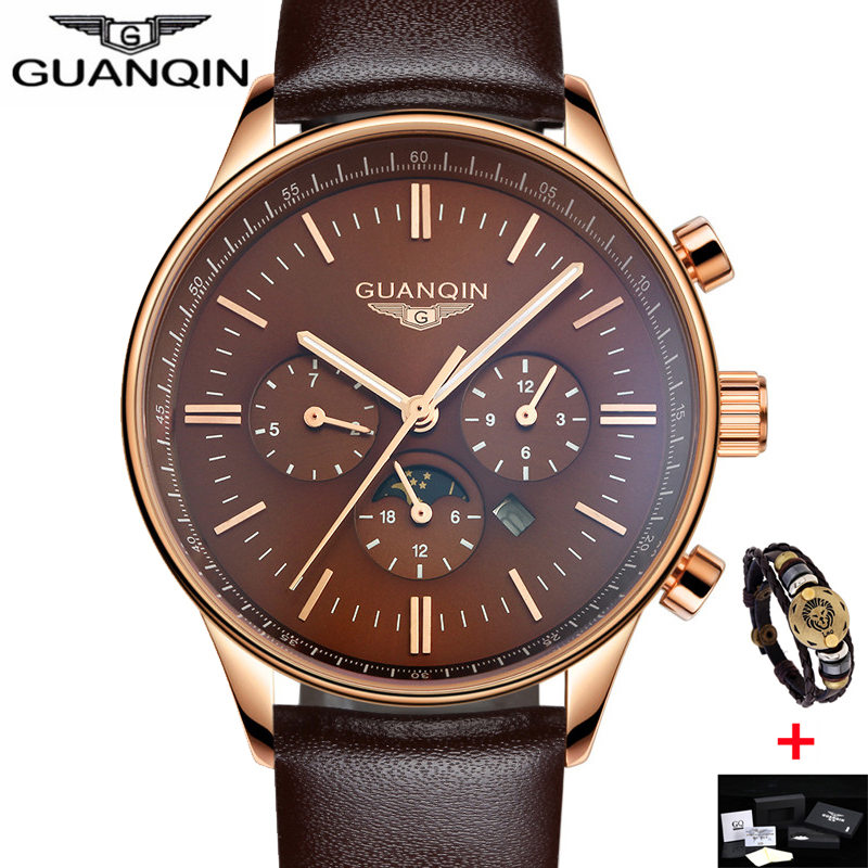 relogio masculino GUANQIN Mens Watches Top Brand Luxury Military Multifunction Quartz Watch Men Sport Leather Strap Wristwatch mens watches top brand luxury men military sport watch date dial clock wristwatch canvas quartz watch relogio masculino