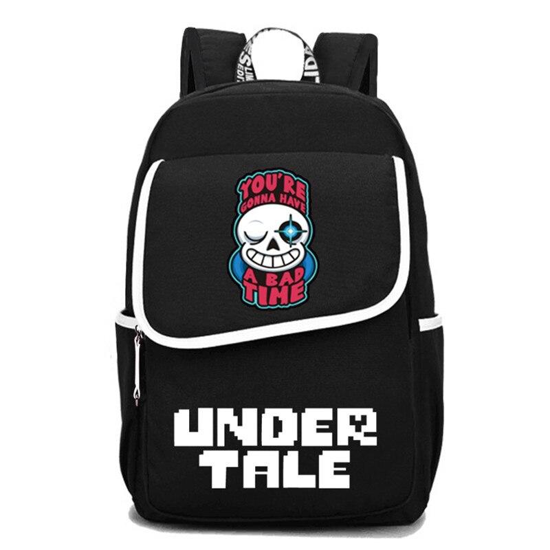 Jeu Undertale voyage sac à dos Sans Papyrus squelette toile sacs d'école grand Bookbag unisexe sac à dos pour ordinateur portable hommes Rugzak 2019 - 2