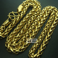 Free shipping! 18K 18CT Gold Filled Men's Weaved 60cm Lenght Cool Chain Necklace N193