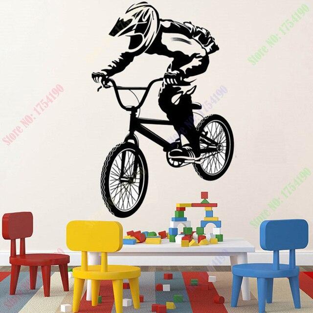 free shipping bmx bike bicycle biker boys wall decal vinyl home