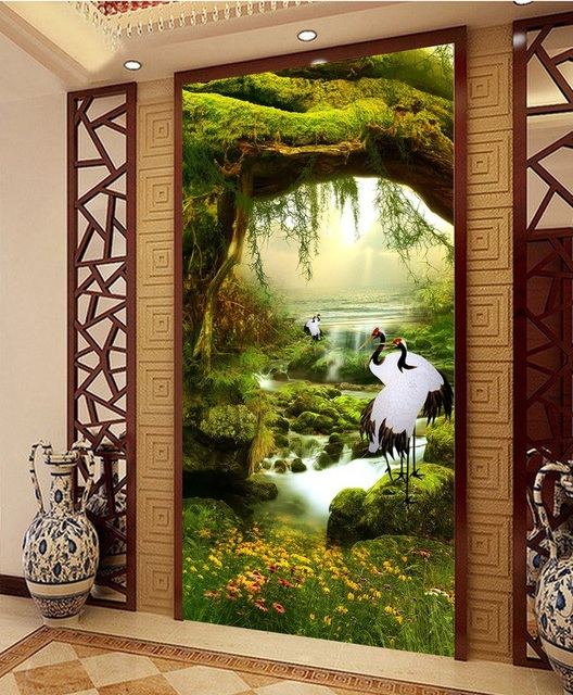 3d Room Wallpaper Custom Mural Non Woven Picture Cranes Illusion Fairyland Porch Paintings Photo