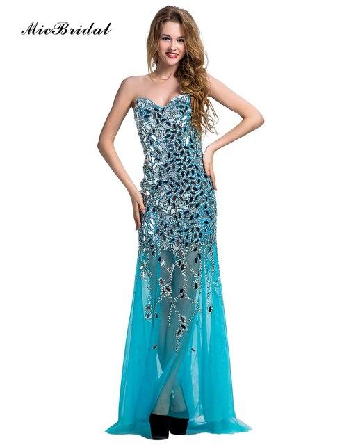 6f296c06149c MicBridal Sparkly Long Blue Evening Dress with Stones Abiti da Cerimonia da  Sera MY-075 2016 Sweetheart Luxury Party Dress