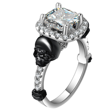 New Original Punk Jewelry Silver Color Skull Rings Set Clear Square CZ Skeleton Black Party Wedding For Women Finger