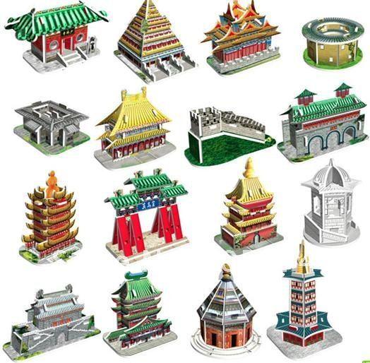 DIY Models,Home Adornment 3D puzzle Famous Build  models set (16pcs),Paper craft,racing Card model